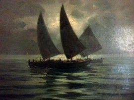 Dipinto d'epoca S. Vageli olio su cartone soggetto marina periodo 1900 immagini
