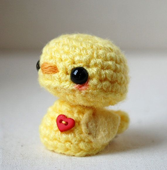 Baby Yellow Chick - Kawaii Mini Amigurumi    This tiny chick stands just over 1 1/2 inches tall, by 1 1/4 inches at her widest.    She is tightly