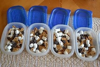 S'mores on the go. golden grahams, marshmellows, choc chips Super cute website filled with ideas for recipes for fun snacks for kids.