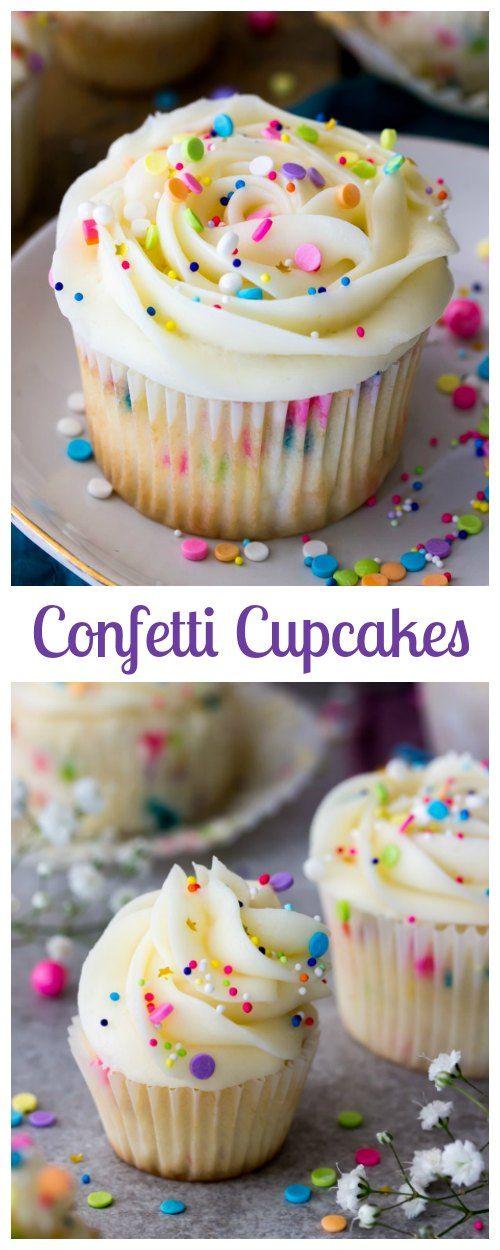 Sweet, soft, colorful and fluffy, these Confetti Cupcakes are SO PERFECT! #cupcake #funfetti #recipe #dessert #sprinkles #cake via @sugarspunrun