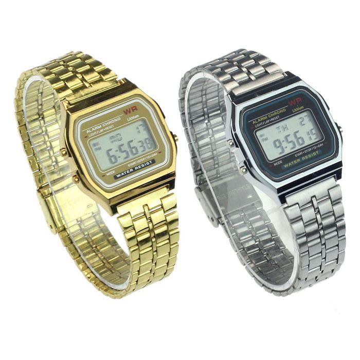 2016 Alipower винтаж женщин мужчины из нержавеющей стали цифровой сигнал секундомер наручные часы бесплатная доставка купить на AliExpress