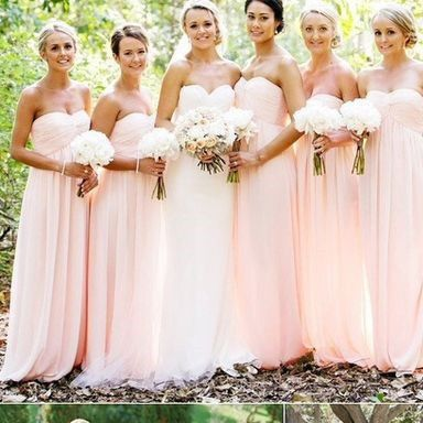 Light Blush Pink Floor Length Chiffon Bridesmaid Dresses Pst0226 On Luulla