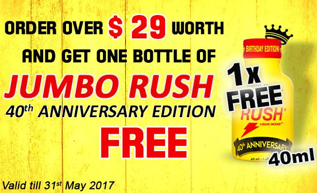 Rush comes in a great many varieties, but the sheer size of this jumbo-bottle Rush Birthday Edition puts all others to shame... No less than forty millilitres guarantee you won't run out of poppers for a long time!