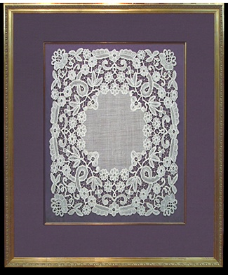 Antique Lace with Fabric Mat, Larson-Juhl Gold Fillet and Gold Frame from the Senelar series.The Framer's Workshop, Berkeley CA www.framersworksh...