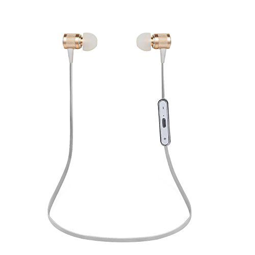 SUFUM Bluetooth Headphones Wireless In-ear Earbuds Earphones with Mic (Gold)