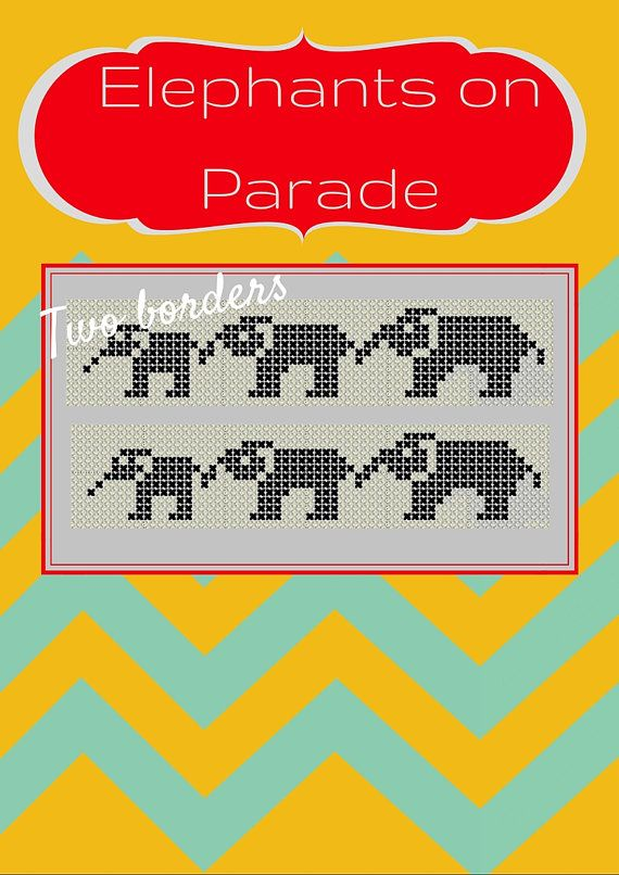 DIY cross stitch border elephants easy corss by talkingwithnana