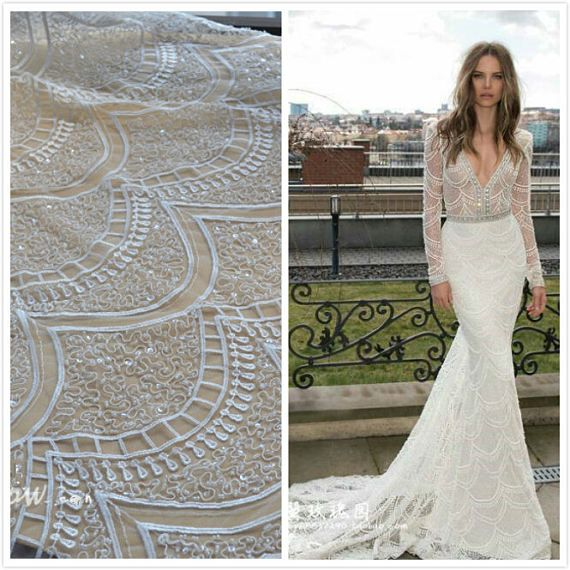 1 Yard Off White Beaded Sequin Lace FabricHigh Quality Ivory