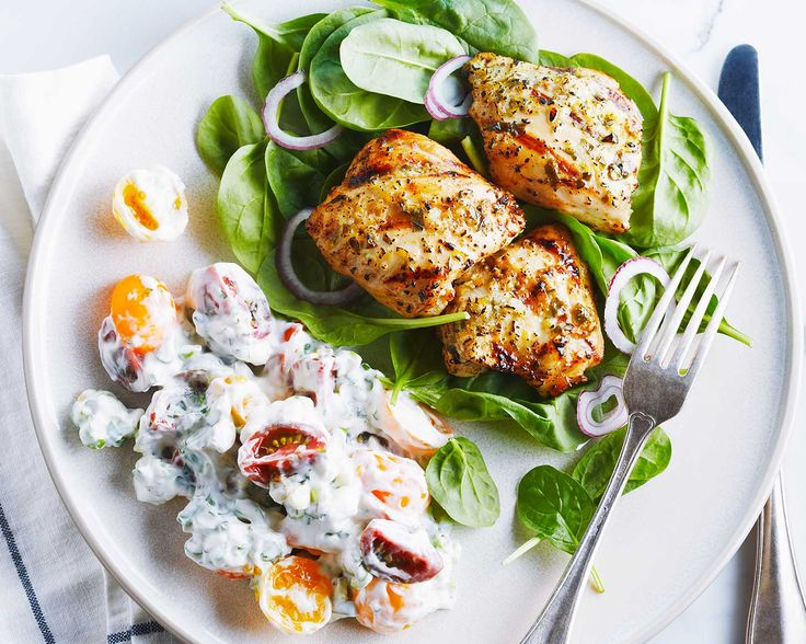 Lemon Garlic Chicken with Creamy Basil Sauce