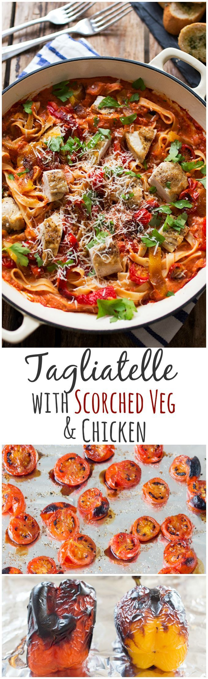 Add extra flavour to your pasta dishes by scorching some tomatoes and peppers under the grill. Mix into a creamy-tomato sauce with tagliatelle and chicken for a dinner that's less than 470 calories (slimming world friendly too).