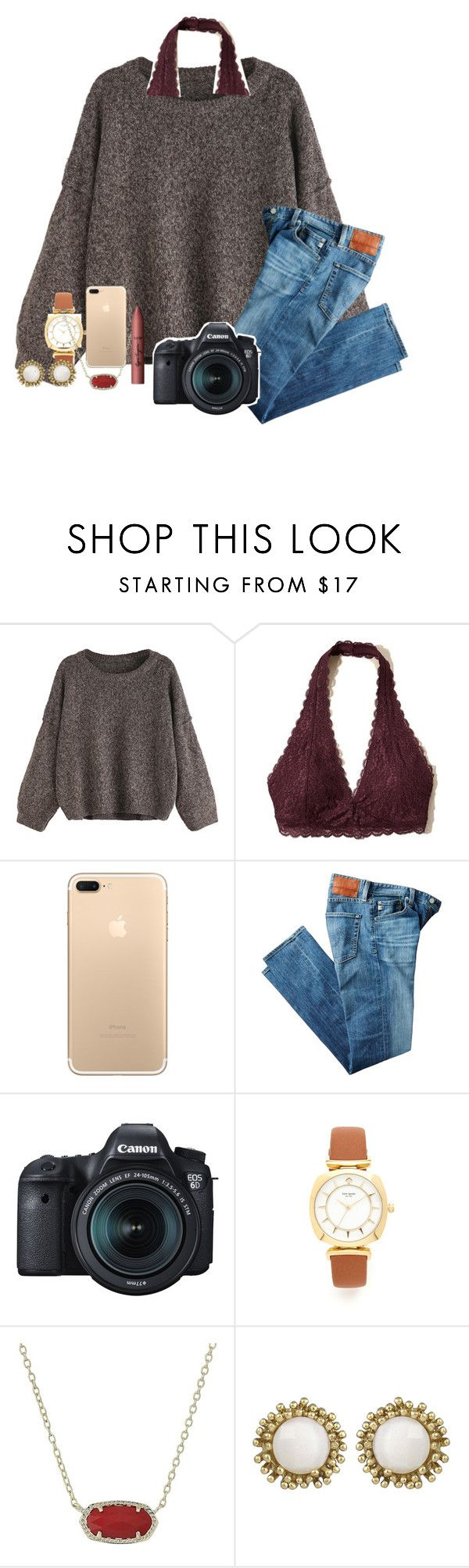 """""""old draft"""" by abby14310 ❤ liked on Polyvore featuring Hollister Co., AG Adriano Goldschmied, Eos, Kate Spade, Kendra Scott and tarte"""