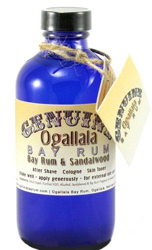 8 oz Genuine Ogallala Bay Rum & Sandalwood Aftershave Old-time looking bottle and label.