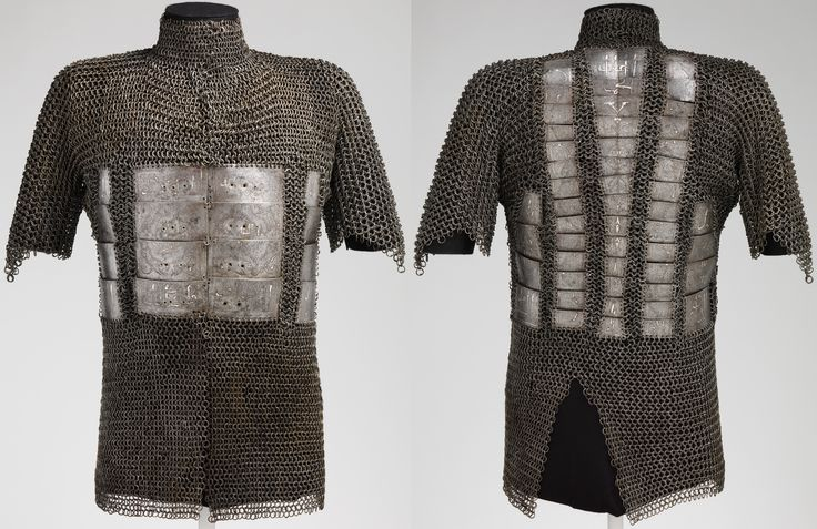"Indo-Persian mail and plate shirt, alternating solid and round riveted links, 15th century, steel, silver, Bequest of George C. Stone, 1935, Met Museum. The Arabic inscriptions in praise of an unidentified ruler (""the khan, the wise"") are similar to those found on turban helmets attributed to the Ak-Koyunlu (White Sheep Turkoman) that ruled northwestern Persia and Anatolia in the 15th c. A9."