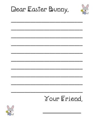A letter paper and easter bunny on pinterest for Letter to easter bunny template