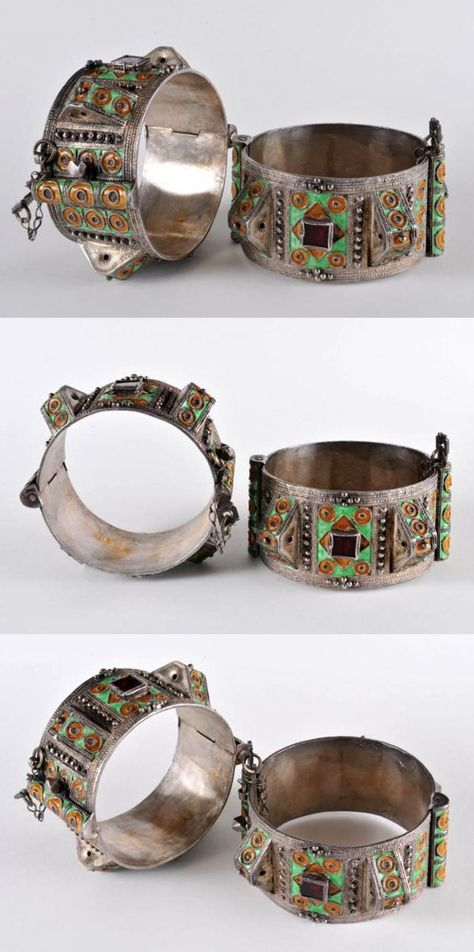 Morocco | Pair of bracelets; silver, enamel and glass | Early 20th century | Tahala || Worn as part of the traditional dress of Jewish woman in the Sous region