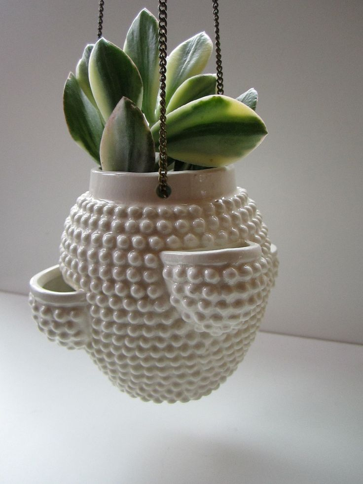 Mid Century Small Ceramic Hanging Planter. $26.00, via Etsy.