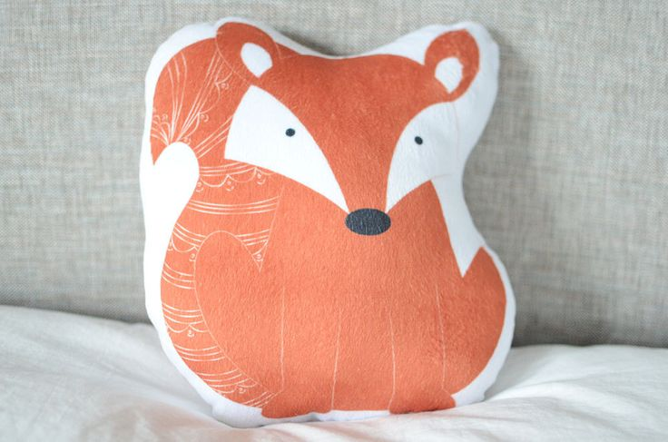 Fox Plush Animal Pillow Woodland Nursery Decor Handmade Decorative Cushion Kids Bedding Forest Nursery Theme Unique Baby Shower Gift by cleverbetty on Etsy https://www.etsy.com/listing/254012136/fox-plush-animal-pillow-woodland-nursery $36
