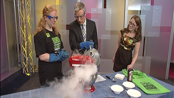 Making Ice Cream Out of Liquid Nitrogen    Shoshanna Pokras and Gerri Trooskin from the Philadelphia Science Festival whip up ice cream with liquid nitrogen. Check out this crafty treat and other science fair experiments at the Philadelphia Science Festival April 20th-29th. For more information visit philasciencefestival.org to find a location near you!