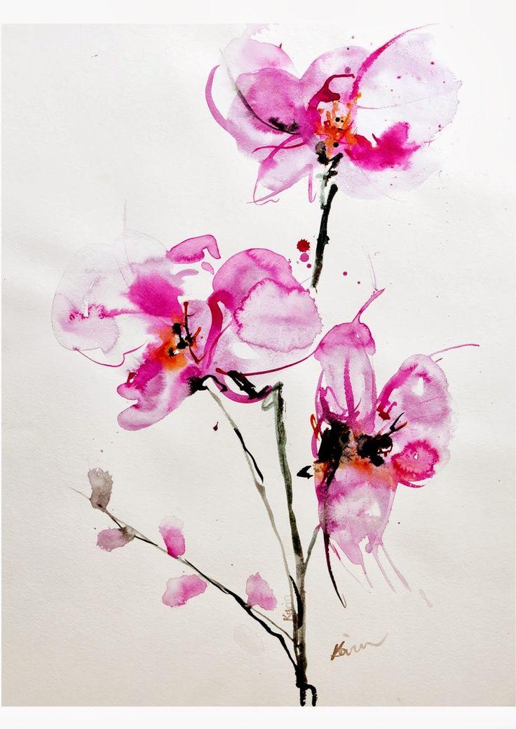 Orquidea Watercolor, Pelo Lila, Mirada De La Acuarela, Acuarelas, Arte Fotografia, Quiéralo, Buscar Con, Con Google, Dibujos