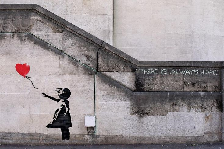 There is Always Hope - Unframed Banksy Canvas Prints Wall Art Living Room Wall Decor Painting Abstract Banksy Art Prints