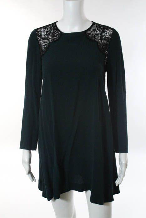 Sandro Emerald Green Black Lace Long Sleeve Tunic Dress Size 1 | Clothing, Shoes & Accessories, Women's Clothing, Dresses | eBay!