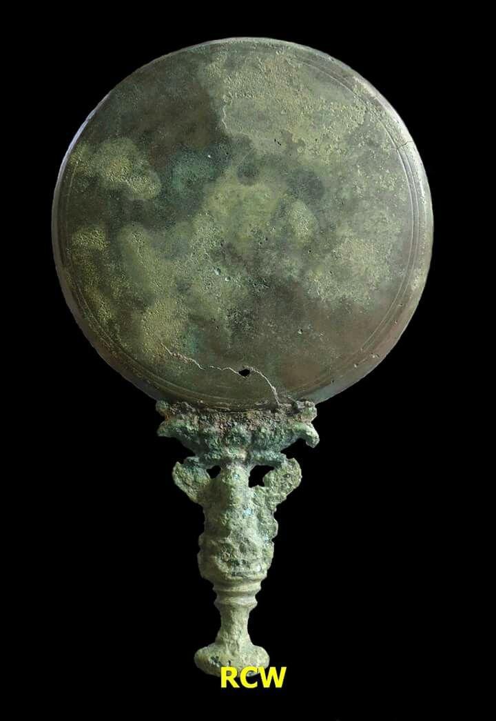 Darpana (Bronze Mirror), bronze, origin Brantas River-Jombang regency-East Java Province-Indonesia, circa 14th-15th century (Majapahit Kingdom period).