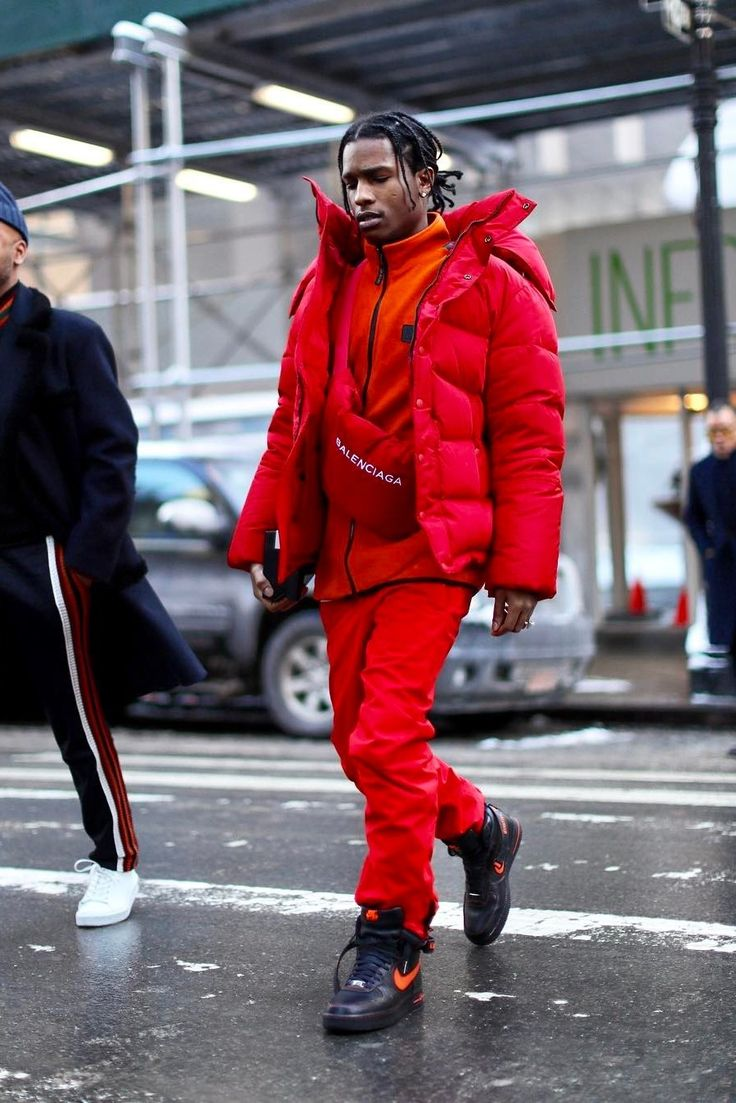 ASAP Rocky - Attends Raf Simons first show at Calvin Klein wearing Balenciaga Jackets and Nike Sneakers   Looklive