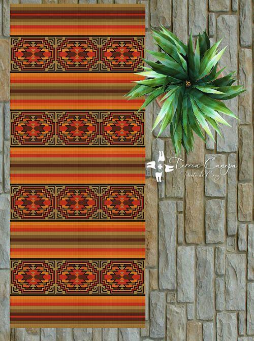 ✄ PATRON PUNTO CRUZ  Alfombra Etnica VIII  Para bordar con Lanas Gruesas.  162 puntos de ancho  392 puntos de largo.  Medidas aprox. si se borda en esterilla gruesa y lanas gruesas:   67,5 cm de ancho  1,63 Mt de largo  Utiliza 7 colores . http://puntocruzandino.weebly.com/
