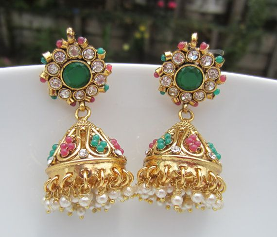 Red and Green Gold Jhumkas Gold Jumkis Indian Jewelry by Alankaar, $29.00