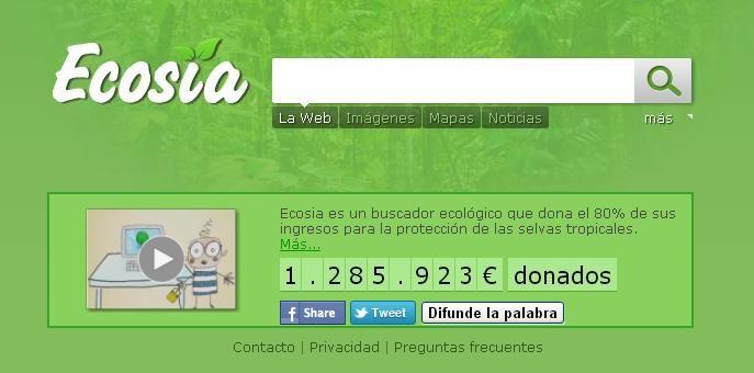Buscador ecológico ecosia.org para el mantenimiento de las selvas del mundo