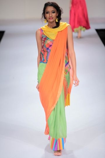 Candy colours brighten up saris by Mayank Anand and Shraddha Nigam - solids and prints