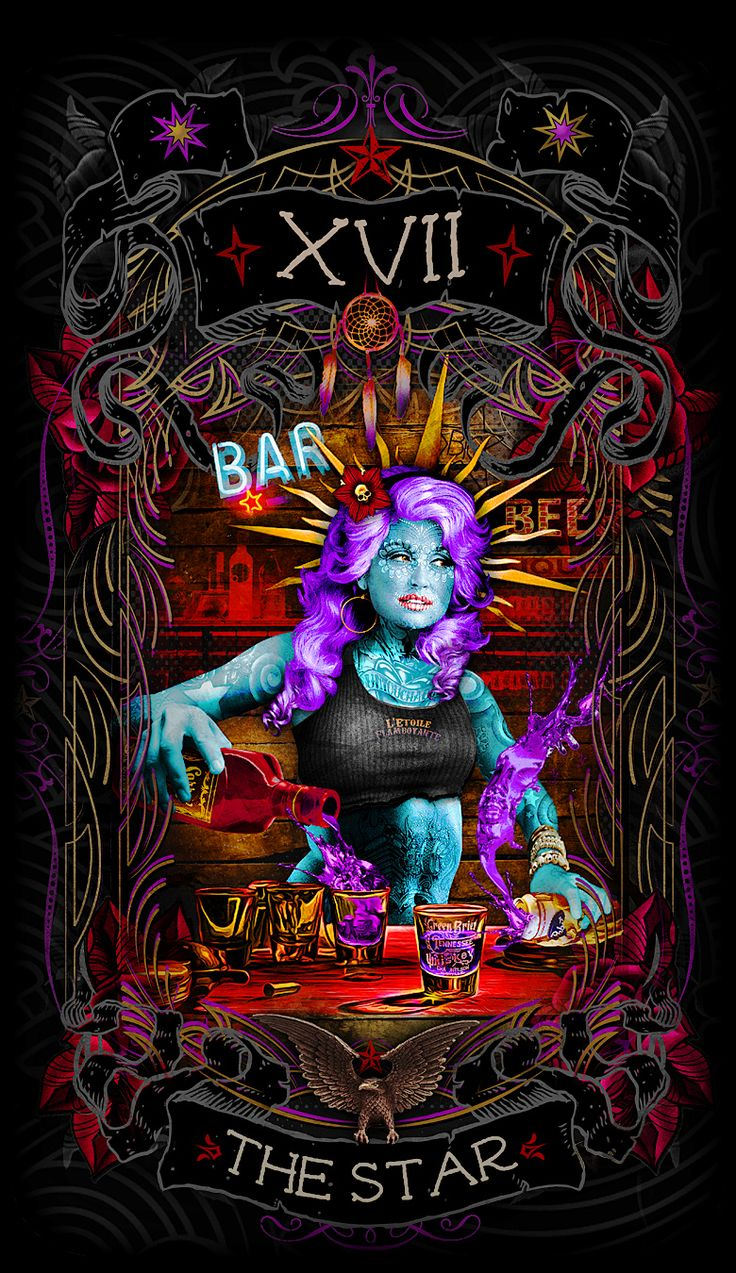 The Star-Major arcana card https://www.kickstarter.com/projects/1049685103/the-psychobilly-tarot #kickstarter #tarot