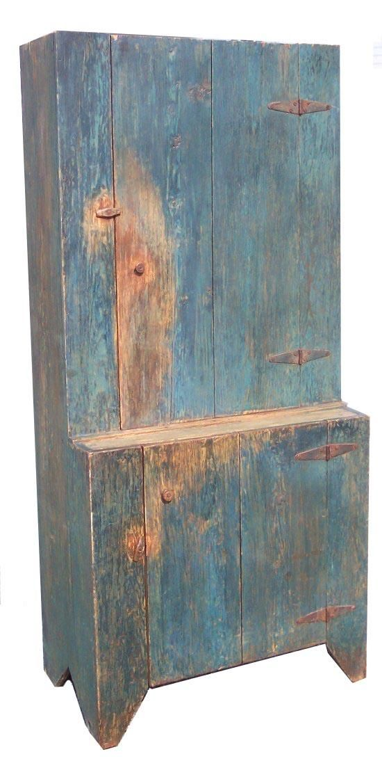 """Stepback Cupboard from Union Co. North Carolina, the wood is yellow pine, with the original blue, circa 1870,Measurements are 13 1/4"""" deep top x 19"""" deep bottom x 33 1/2"""" wide x 72 1/2"""" tall~♥~"""