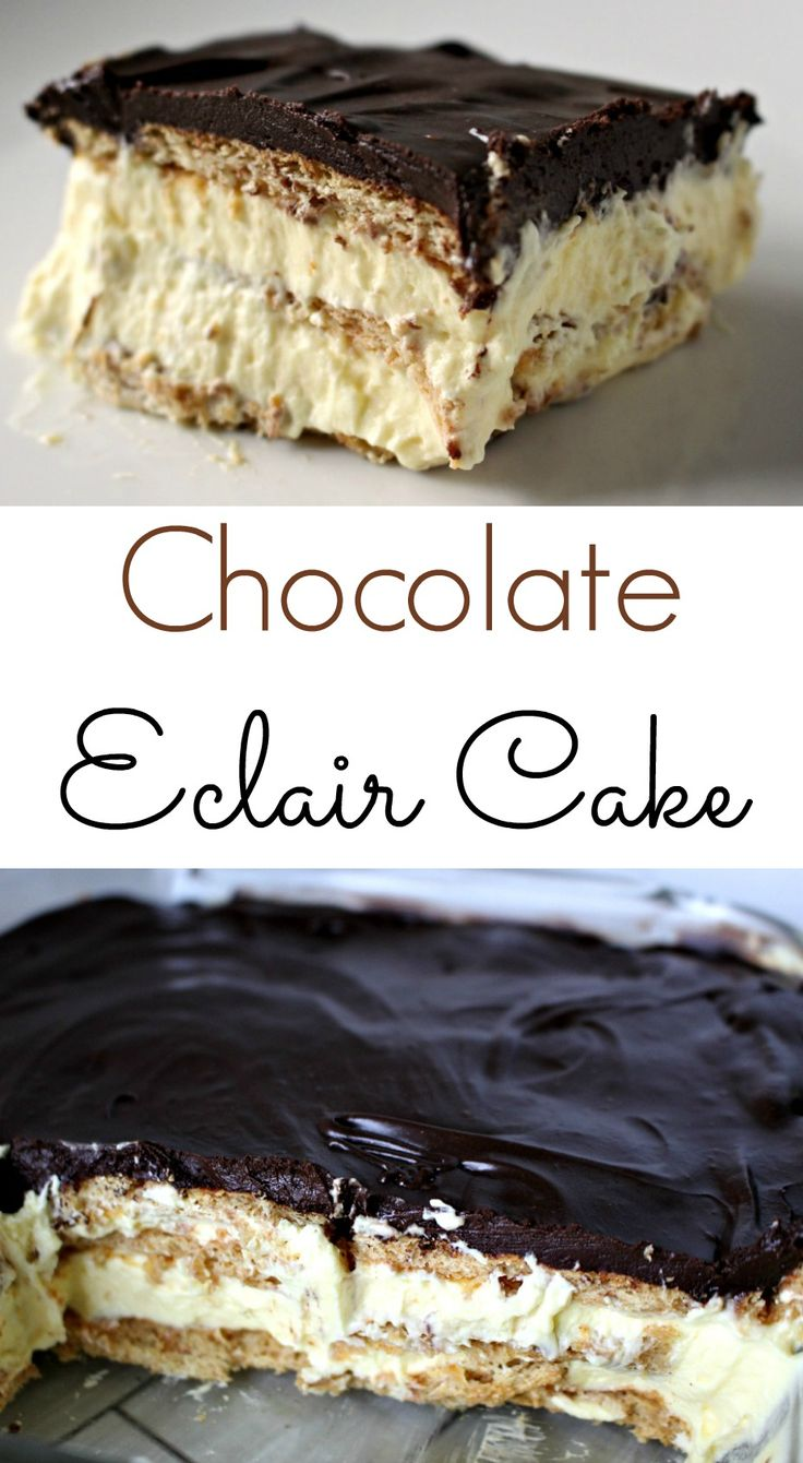 Chocolate Eclair Cake - An easy and delicous no bake dessert