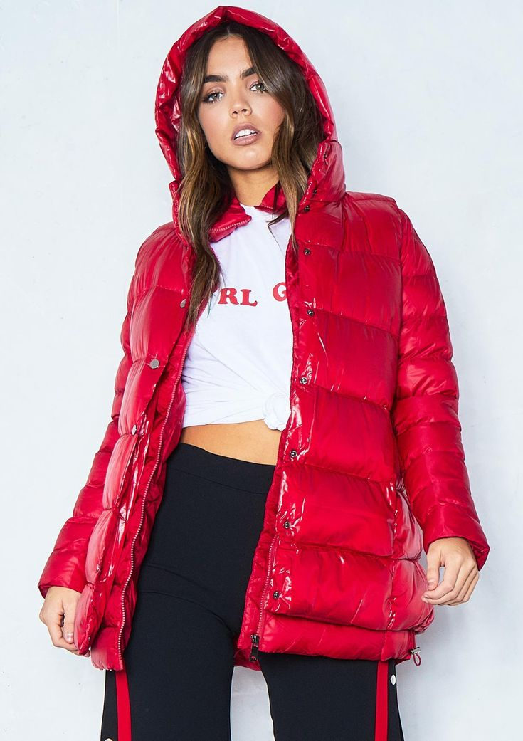 Chloe Red 2-In-1 Gilet Puffer Coat Missy Empire