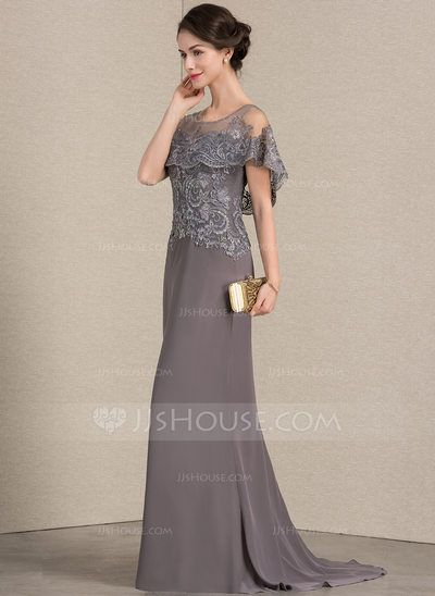 63aba62a30 A-Line Princess Scoop Neck Sweep Train Chiffon Lace Mother of the Bride  Dress (008143373) - JJsHouse