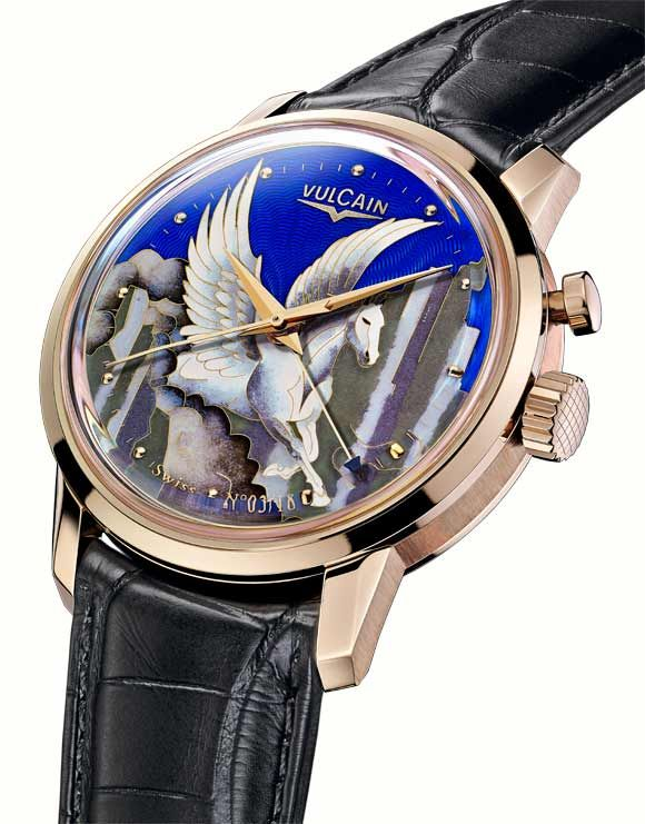 "@Manufacture des montres Vulcain S.A. celebrates the #Chinese 2014 Year of #Horse and the opening of its Monoboutique in #Beijing by presenting its new 50s Presidents' ""Pegasus"" model."