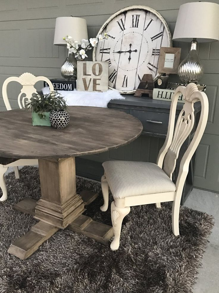 Shanty 2 Chic Round Pedestal Table By Handmade Haven SMASHINGDIY Farmhouse Table Farmhouse