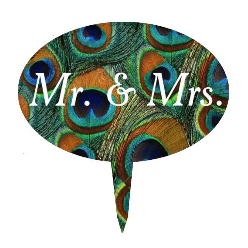 """Affordable Peacock Feather Cake Topper. Unique, customizable, """"Mr. & Mrs."""" cake topper features a genuine peacock feather pattern in shades of golden brown, teal blue, green, and purple. Perfect to place on your peacock feather themed wedding cake. Personalize the text for your bridal shower, vow renewal, anniversary, engagement party, birthday party, etc. Personalize multiple toppers and use them for labeling the goodies on your sweets or dessert table. #peacock #feather #cake #topper #top"""