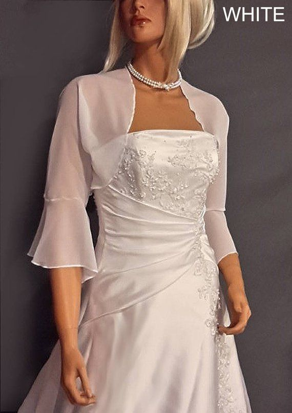 c2dbffc086648 Chiffon bolero jacket 3/4 bell sleeve shrug wedding wrap bridal cover up  CBA216 AVAILABLE IN white and 6 other colors. Small - Plus size!