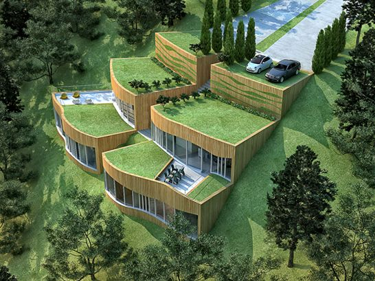 Eco green rupe house architecture design, sustainable design, green building.
