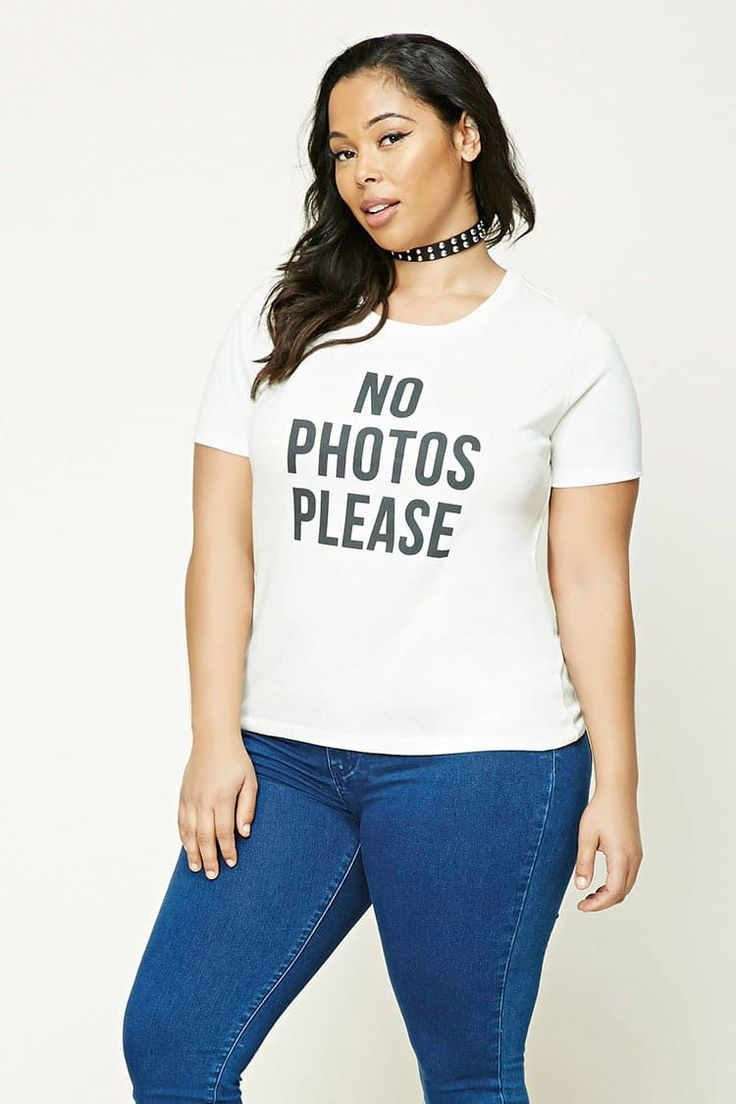 Product Name:Plus Size No Photos Please Tee, Category:CLEARANCE_ZERO, Price:14.9
