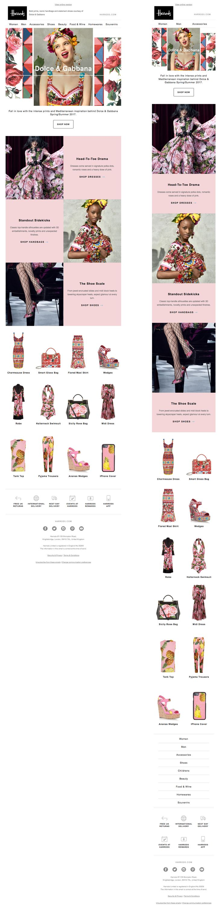 Beautiful responsive email design from Harrods #emaildesign