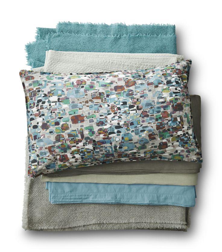 Society Limonta | blu acquamarina and grey bedding set  www.societylimonta.com