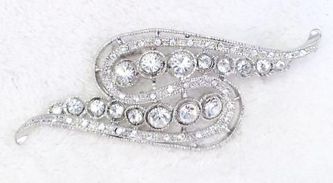 Clear Rhinestone and Silver Long, Abstract Brooch / Pendant - Cherryl's Jewelry - 1
