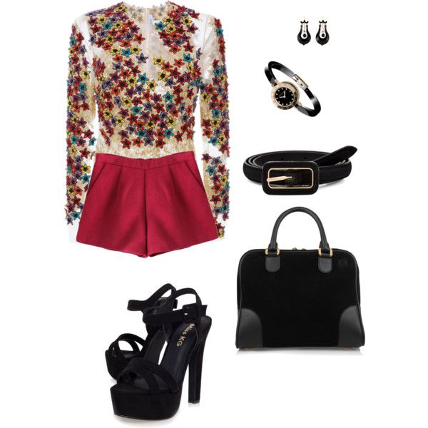 Red shorts... polyvore