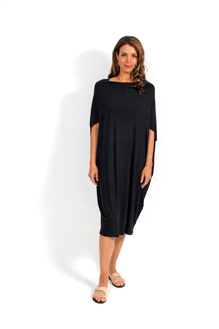 100% Cotton Jersey.  Fabulous cocoon shape ideal for summer or winter. The longer line is great with boots and a scarf, but can be worn in summer with a slide and statement earrings for weekend wear.  Machine washable.