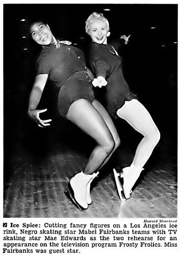 Negro Skating Star Mabel Fairbanks with Mae Edwards - Jet Magazine, May 27, 1954 by vieilles_annonces, via Flickr