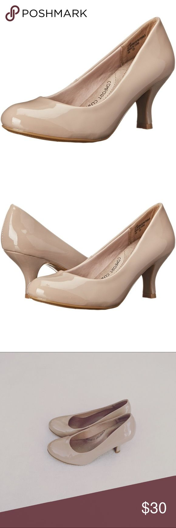 Jellypop 'Cayla' Mid Heel Dress Pumps Super comfortable With padded insole & arch support Good condition  Size: 5.5 Nude patent Flaw shown in 4th pic Cross posted on Mercarí Jellypop Shoes Heels