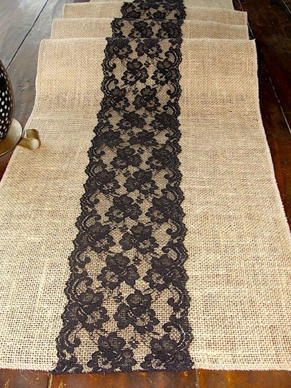 Burlap table runner with black lace rustic table by HotCocoaDesign, $22.00