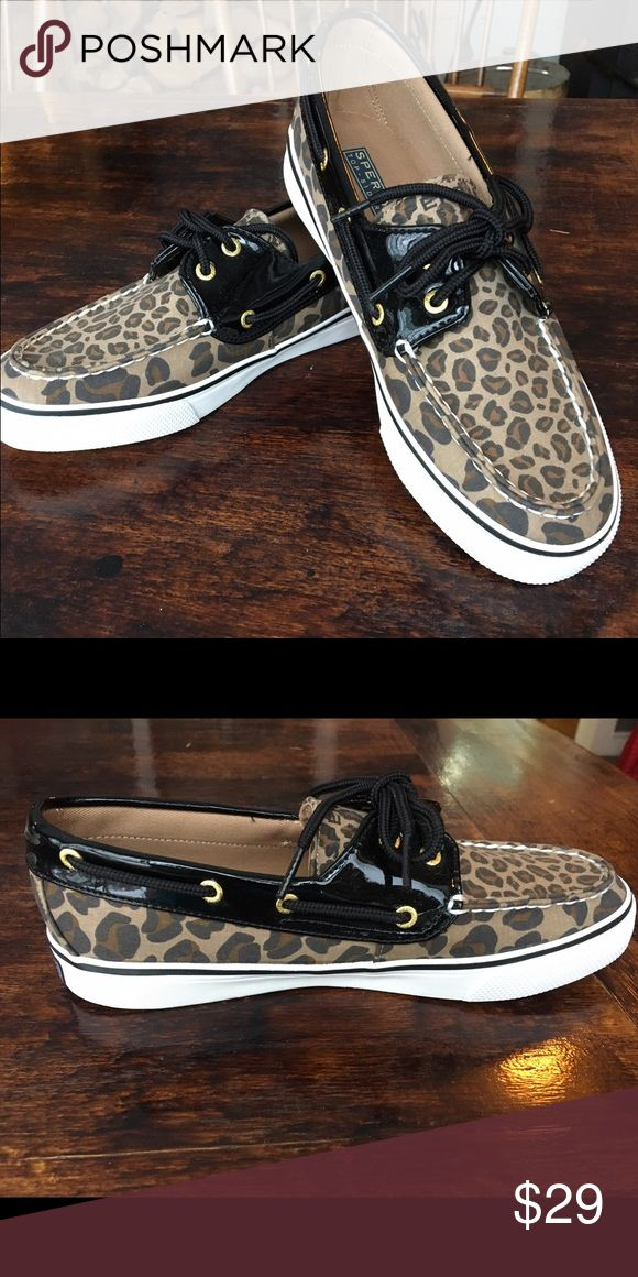 Sperry Top-Sider Biscayne Leopard/ Black Patent NWOT Sperry Leopard Boat Shoe. Never worn, has typical Sperry fit, slim on the inside. BUNDLE&SAVE 25%💞 Sperry Top-Sider Shoes Flats & Loafers
